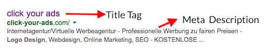 Title Tag und Meta Description richtig verwenden